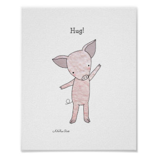 Cute Pig Hug Poster Piglet Farm Animal Art Print