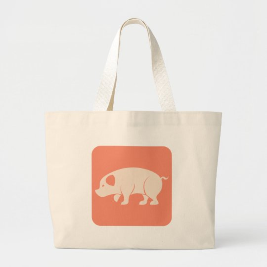 Cute Pig Icon Large Tote Bag