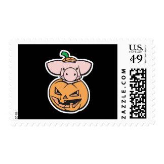 cute pig in a pumpkin stamp