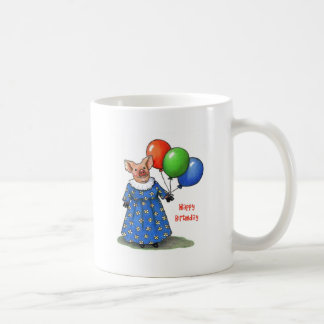 Cute Pig in Best Dress & Balloons: Happy Birthday Coffee Mug