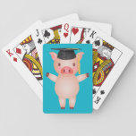 "Cute Pig in Graduation Cap Playing Cards<br><div class=""desc"">A cute pig in graduation cap against a blue background. You can change the background color by selecting the &quot;Customize It&quot; choosing a color from the wide array of background colors.</div>"