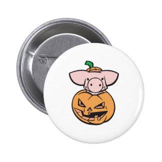 cute pig in jack-o-lantern pumpkin pinback button
