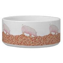 Cute Pig in Mud Funny Watercolour Animal Art Bowl