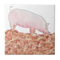 Cute Pig in Mud Funny Watercolour Animal Art Ceramic Tile