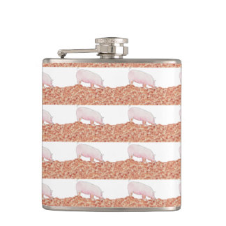 Cute Pig in Mud Funny Watercolour Animal Art Flask
