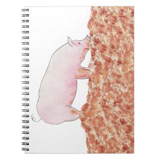 Cute Pig in Mud Funny Watercolour Animal Art Notebook