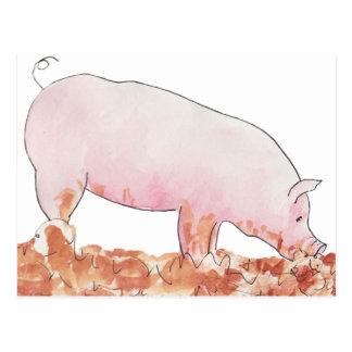 Cute Pig in Mud Funny Watercolour Animal Art Postcard