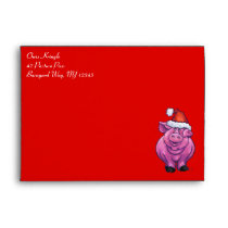 Cute Pig in Santa Hat on Red Envelope