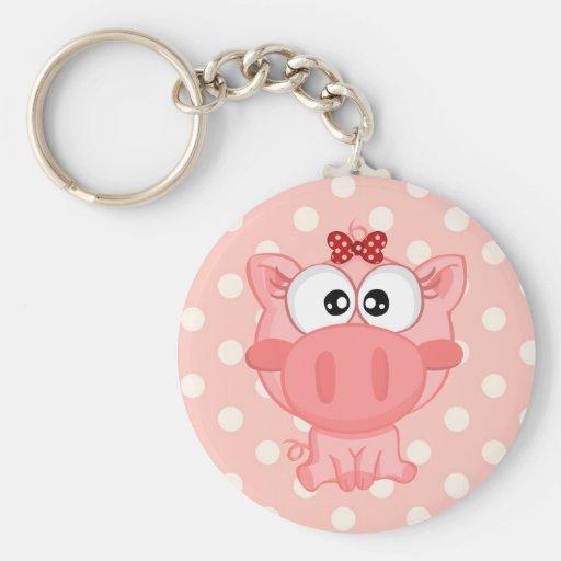 Cute Pig Keychain Basic Round Button Keychain