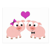 Cute Pig Love Postcard