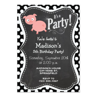 Cute Pig on Black and White Polka Dots 5x7 Paper Invitation Card