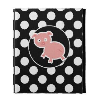Cute Pig on Black and White Polka Dots iPad Folio Covers