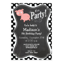 Cute Pig on Black and White Polka Dots Invitation