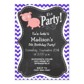 Cute Pig on Blue Violet Chevron 5x7 Paper Invitation Card