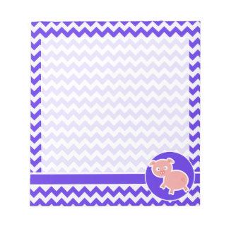 Cute Pig on Blue Violet Chevron Notepad