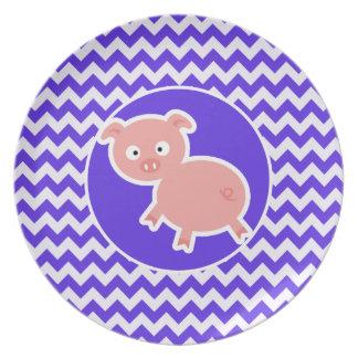 Cute Pig on Blue Violet Chevron Plates