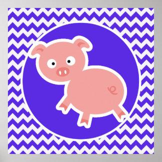 Cute Pig on Blue Violet Chevron Poster