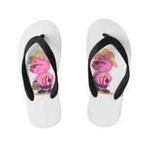 Cute pig on sand beach | choose background color kid's flip flops
