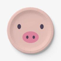 Cute Pig Paper Plates