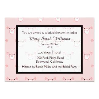 Cute Pig Pattern Bridal Shower Invitation