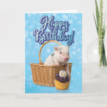 Cute Pig Pigging Out Birthday Card