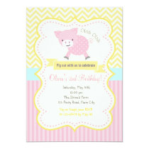 Cute Pig / Piggy Pastel Birthday Invitation