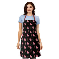 Cute Pig Piggy Pattern with Pink Hearts Black Apron