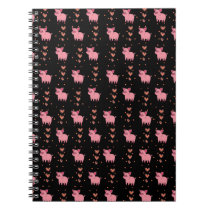 Cute Pig Piggy with Pink Heart Pattern Black Style Notebook