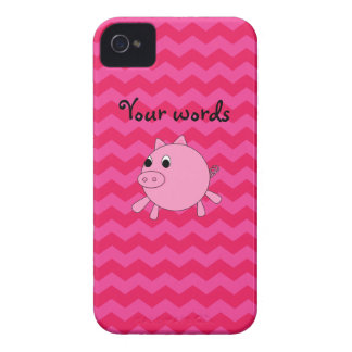 Cute pig pink chevrons iPhone 4 cases