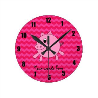 Cute pig pink chevrons round wallclock