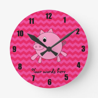 Cute pig pink chevrons round clock