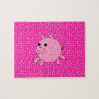 Cute pig pink stars jigsaw puzzle