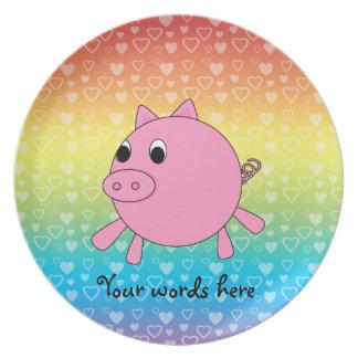 Cute pig rainbow hearts dinner plate