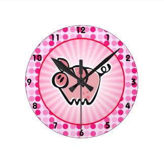 Cute Pig Round Clock