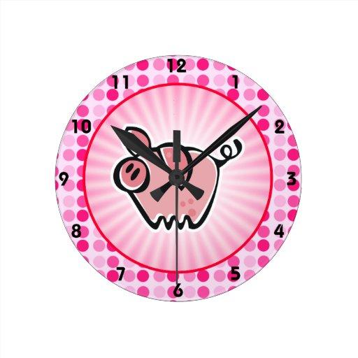 Cute Pig Round Wall Clock