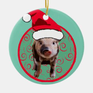 Cute Pig Santa - Teal and Red Ceramic Ornament