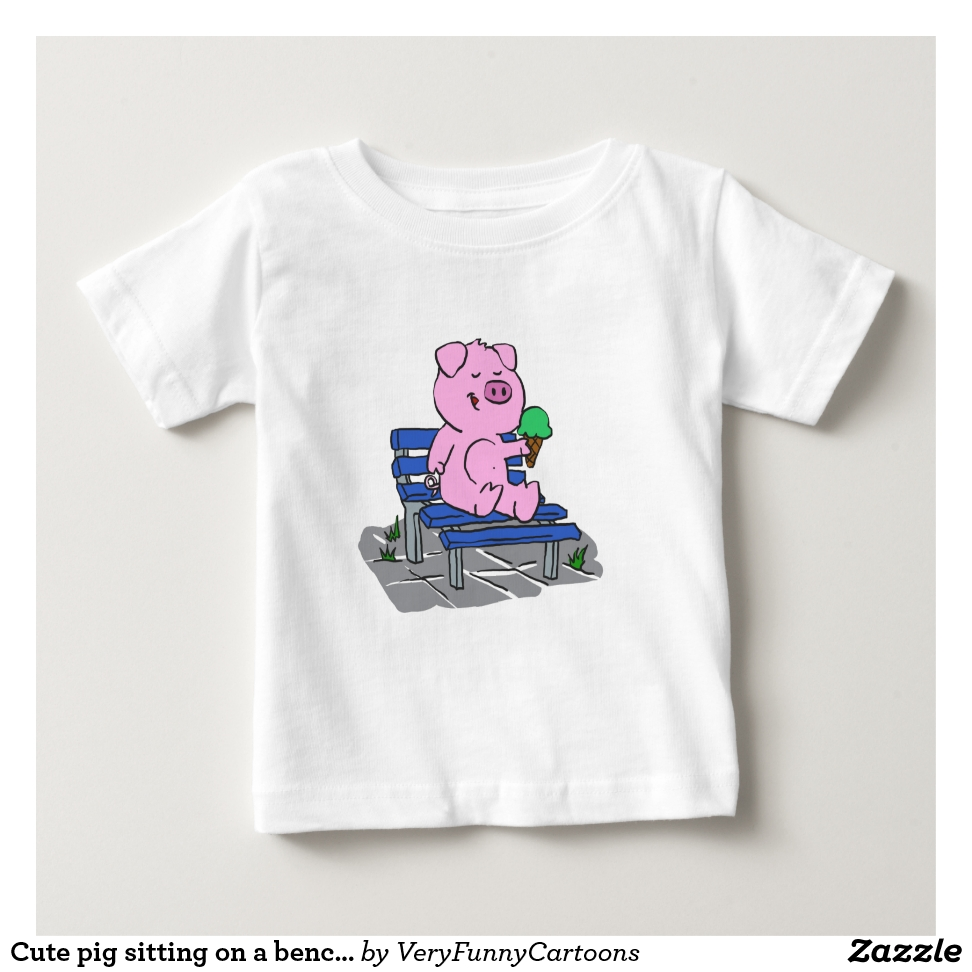 Cute pig sitting on a bench and eating ice cream baby T-Shirt - Soft And Comfortable Baby Fashion Shirt Designs