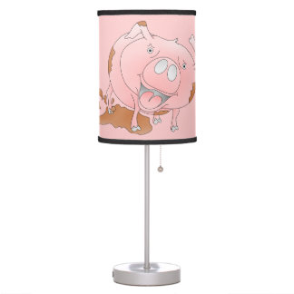 Cute pig slashing mud desk lamp