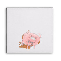 Cute pig splashing mud envelope
