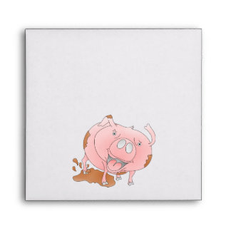 Cute pig splashing mud envelope
