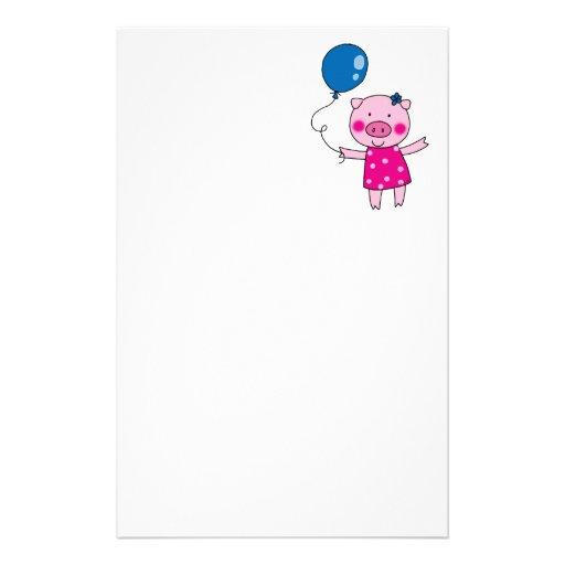 Cute pig stationery design