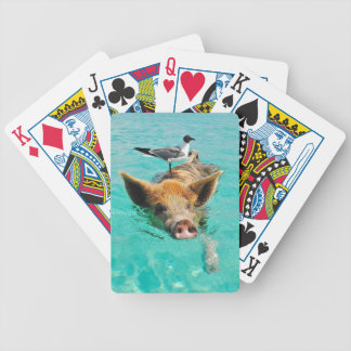 Cute pig swimming in water bicycle poker cards