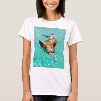 Cute pig swimming in water T-Shirt