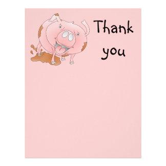 Cute pig Thank you note Letterhead