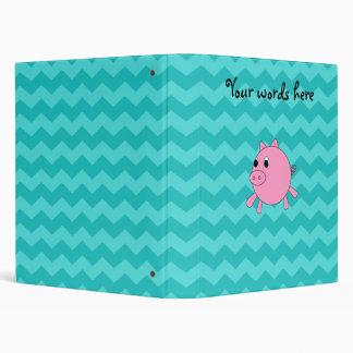 Cute pig turquoise chevrons 3 ring binder
