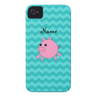 Cute pig turquoise chevrons iPhone 4 cases