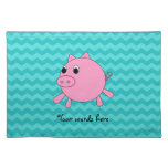 Cute pig turquoise chevrons cloth placemat