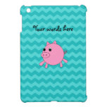 Cute pig turquoise chevrons iPad mini covers