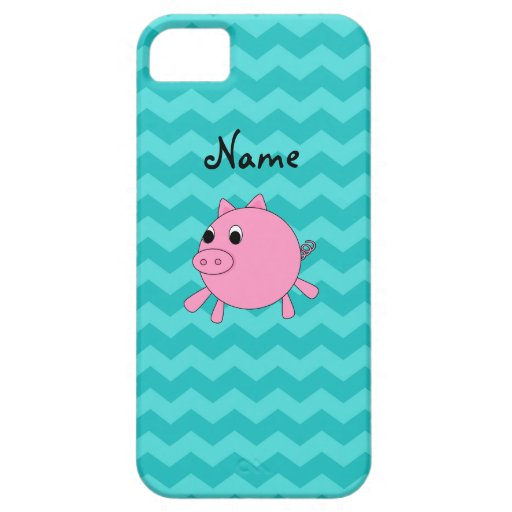 Cute pig turquoise chevrons iPhone 5 cover