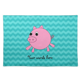 Cute pig turquoise chevrons placemats